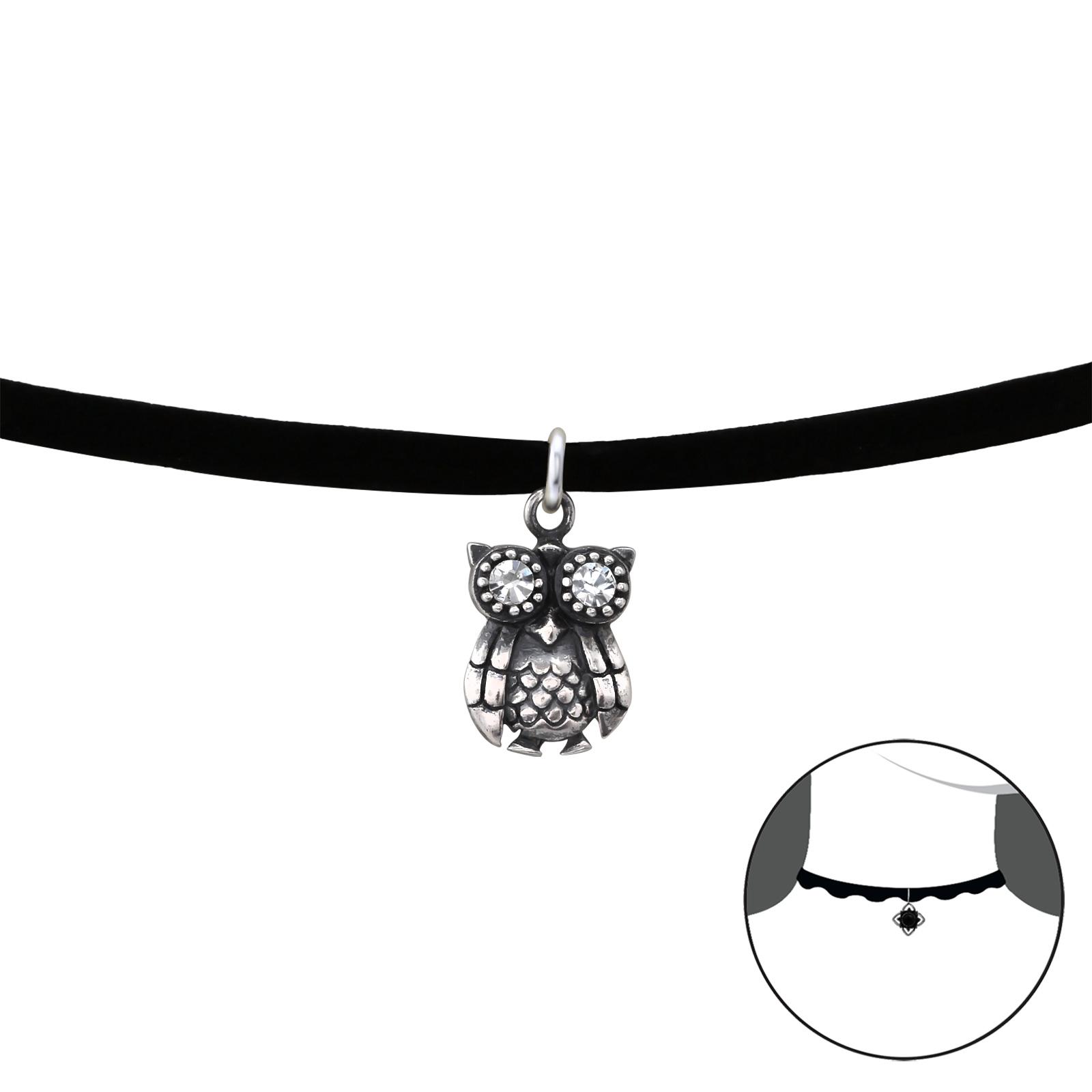OLIVIE Stříbrný CHOKER náhrdelník SOVA 2489