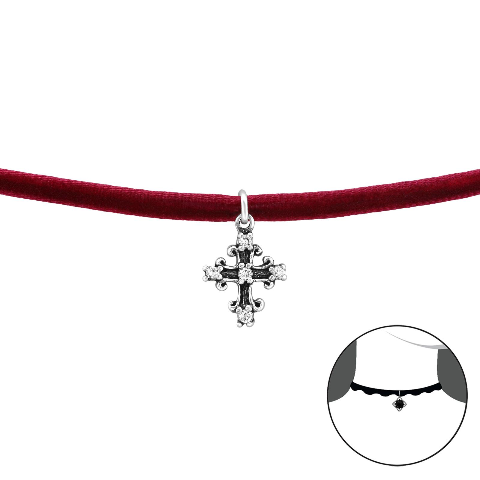OLIVIE CHOKER náhrdelník KŘÍŽEK se zirkony 2490
