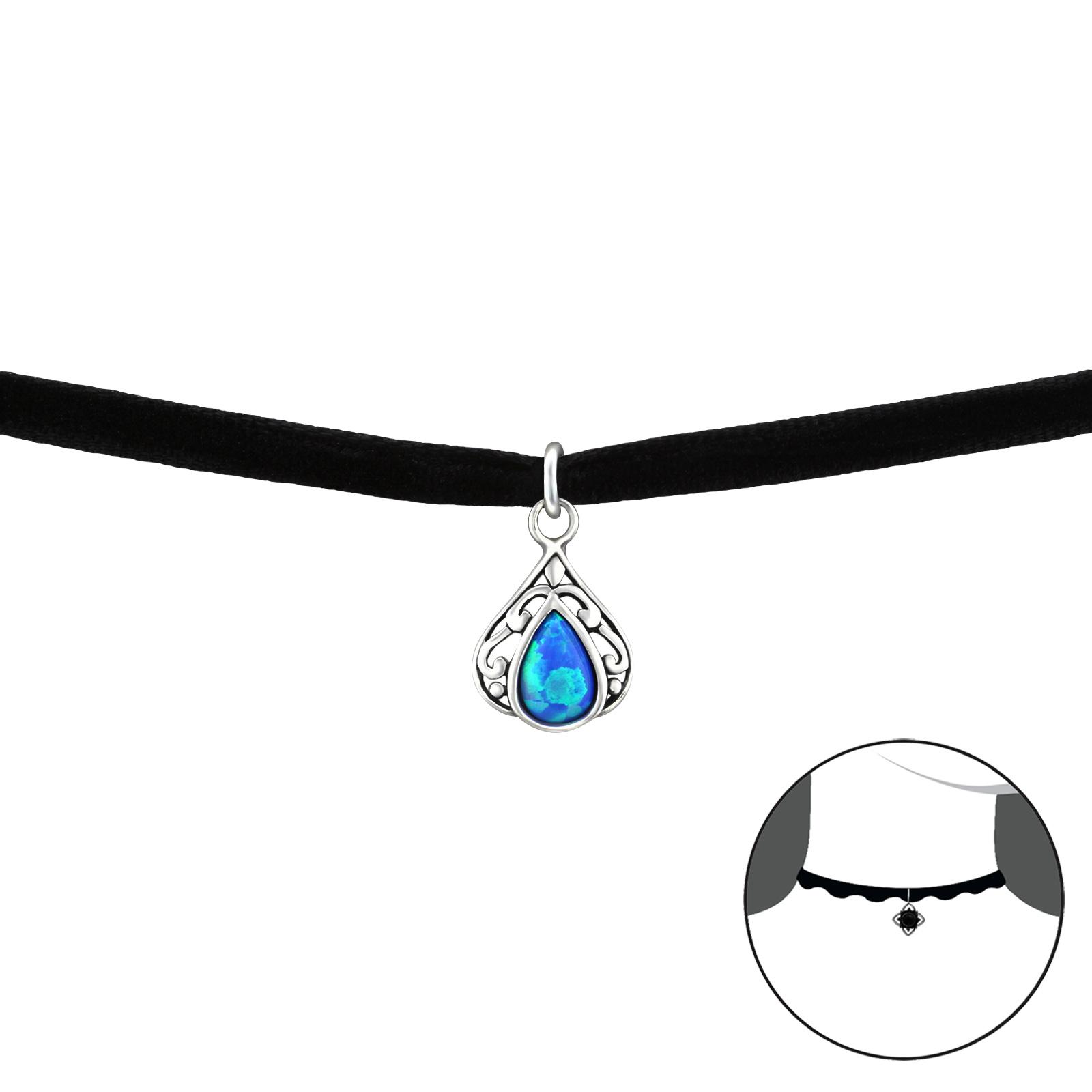 OLIVIE CHOKER náhrdelník SLZA s opálem 2491