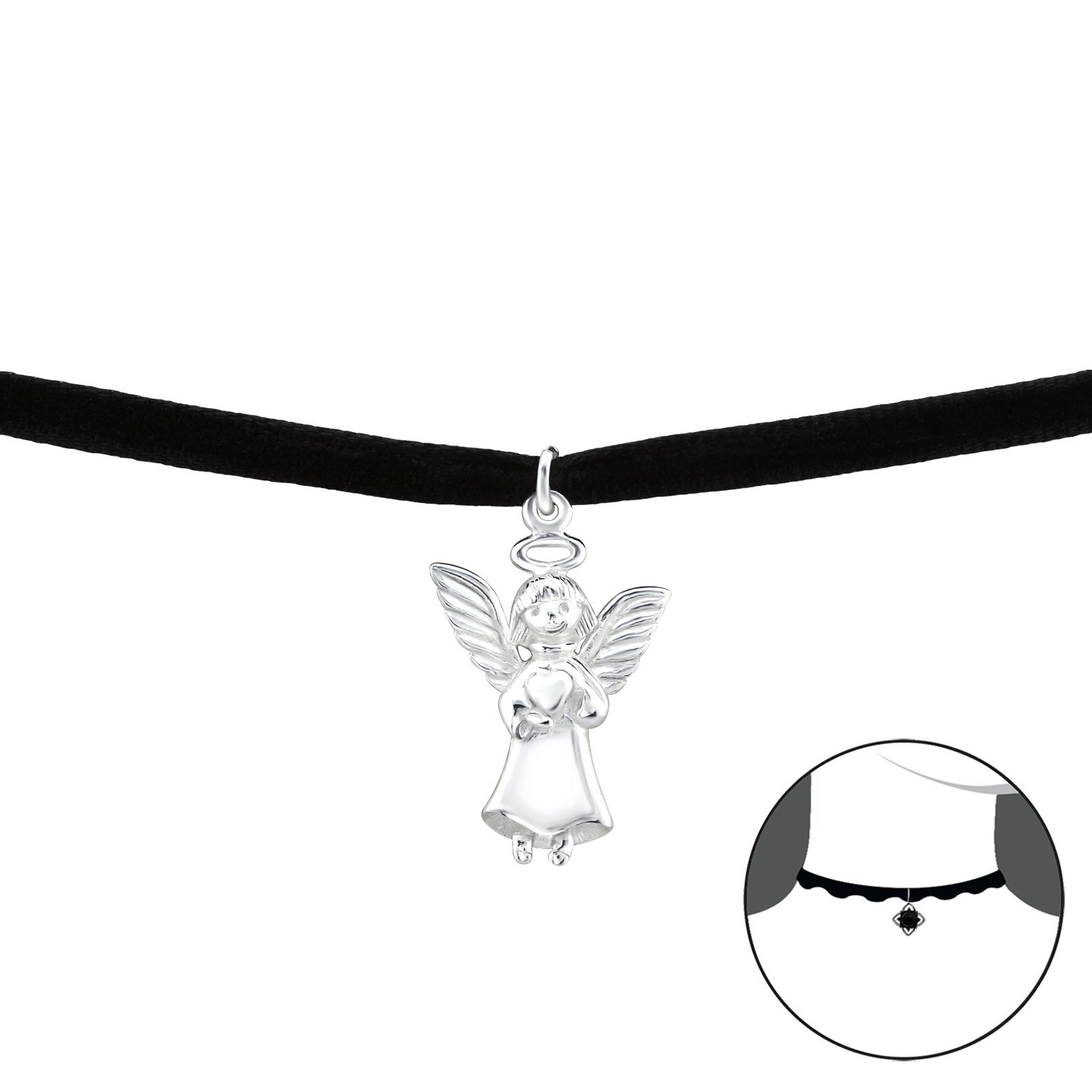 OLIVIE CHOKER náhrdelník se stříbrným ANDĚLEM 2492