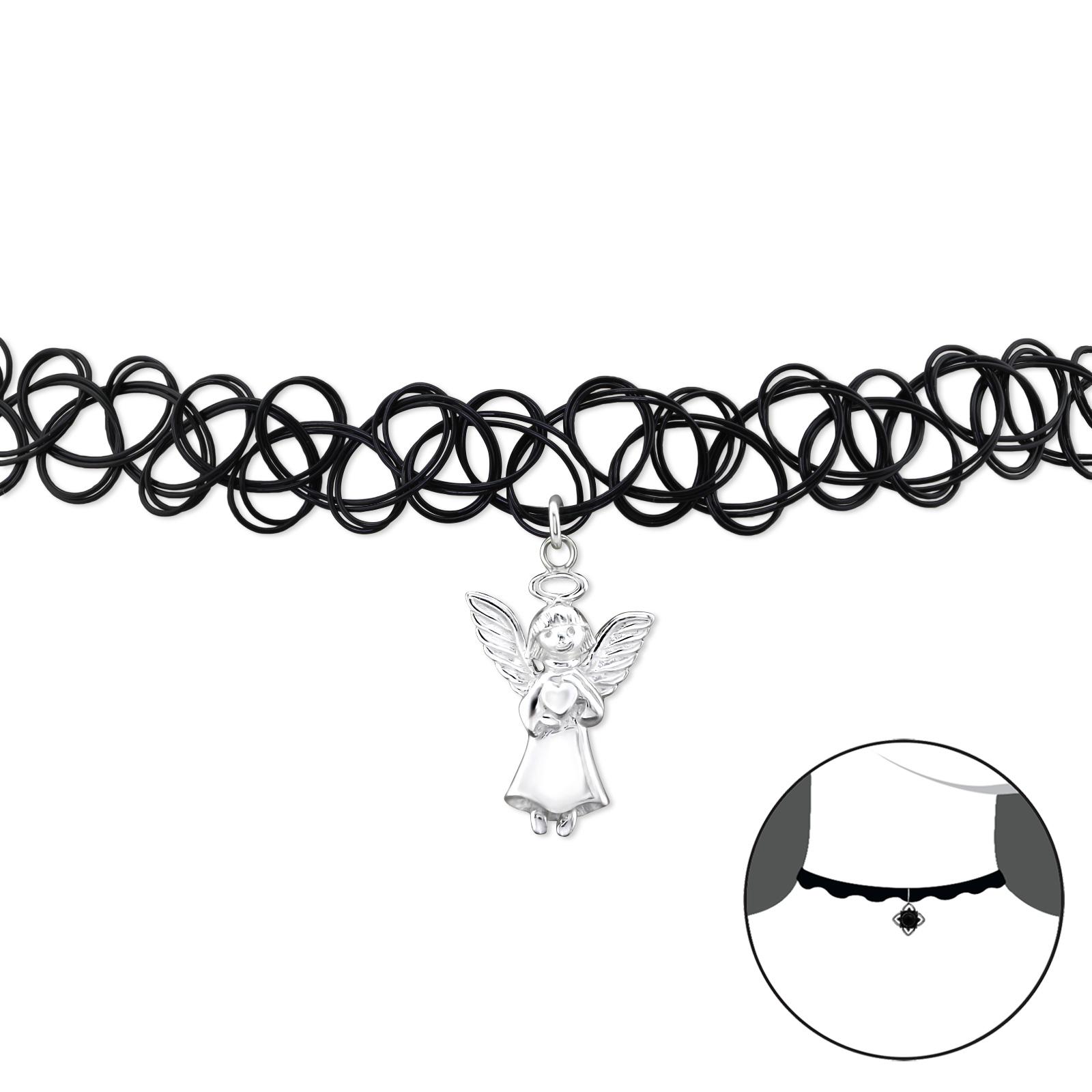 OLIVIE CHOKER náhrdelník se stříbrným ANDĚLEM 2493