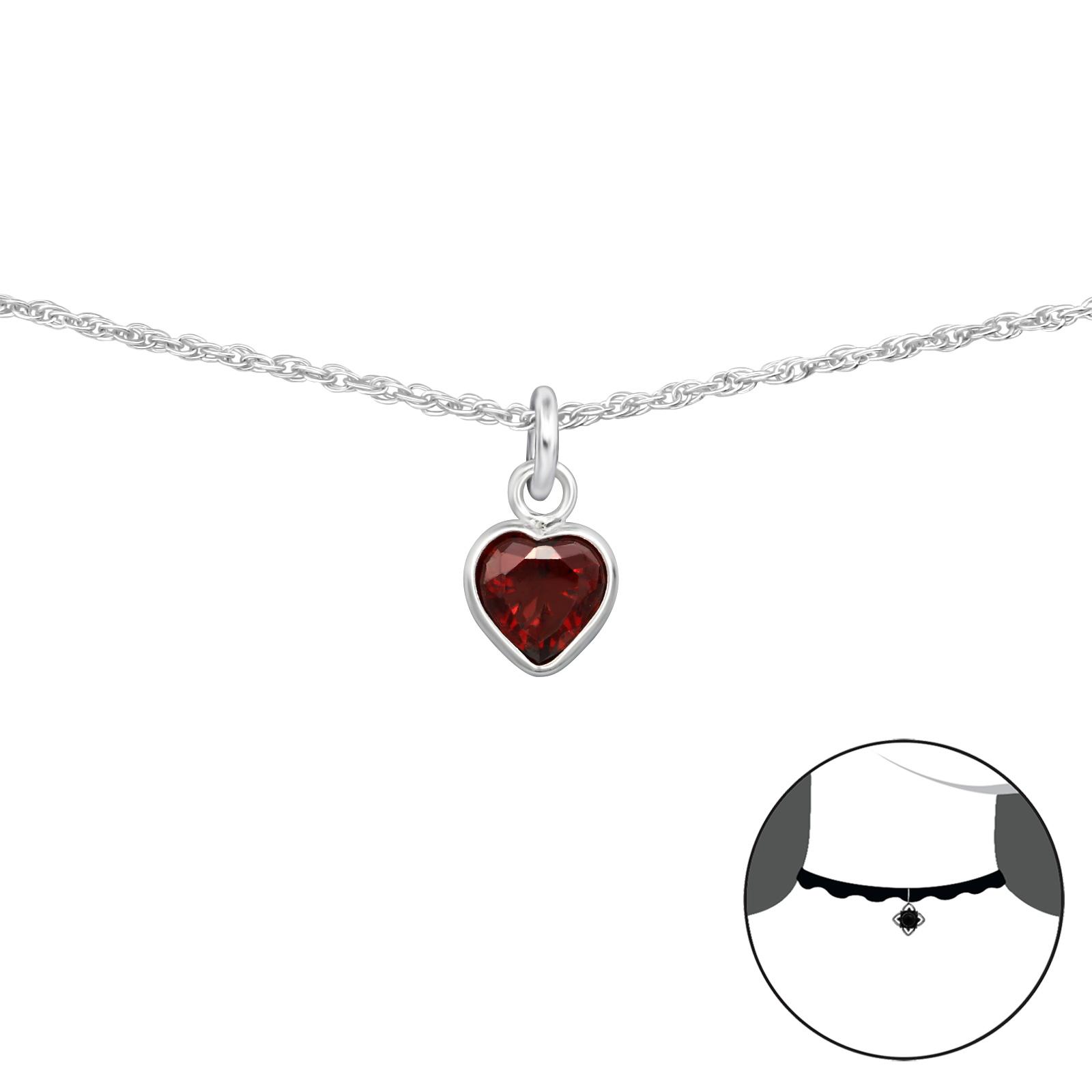 OLIVIE Stříbrný CHOKER náhrdelník ČERVENÉ SRDCE 2495