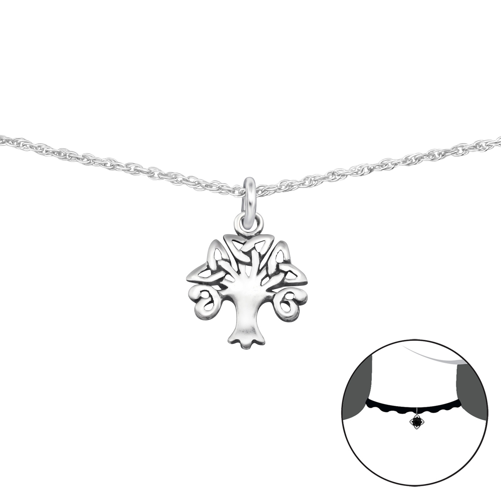 OLIVIE Stříbrný CHOKER náhrdelník STROM ŽIVOTA 2496
