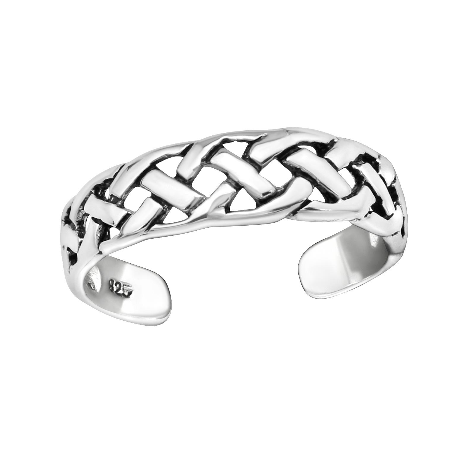 OLIVIE Stříbrný propletený prsten na nohu 2720