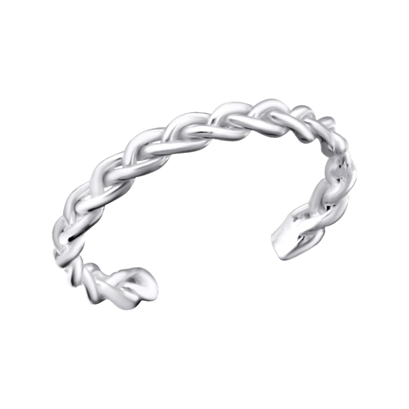 OLIVIE Stříbrný propletený prsten na nohu 2736