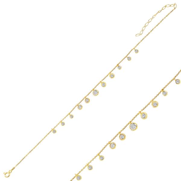Levně Stříbrný řetízek GOLD na nohu se zirkony 2796 Ag 925; ≤1,9 g.