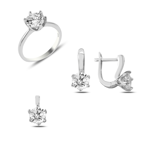 OLIVIE Stříbrný set s čirými zirkony 2876 Velikost prstenů: 8 (EU: 57-58)