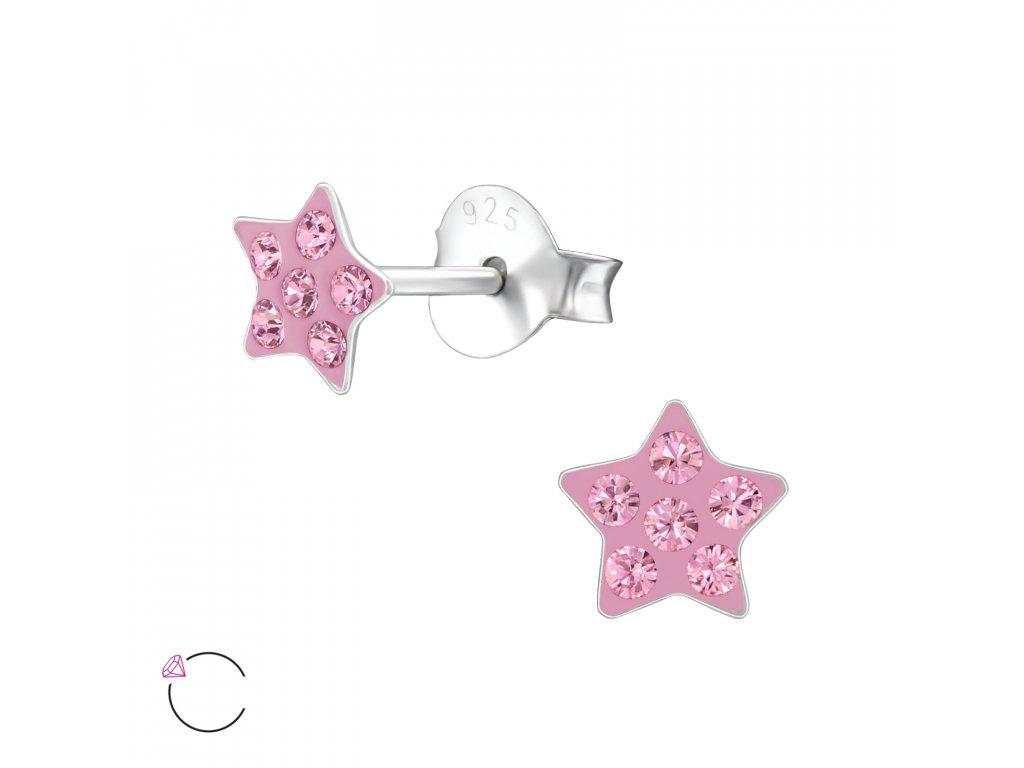 0394 Detské strieborné náušnice hviezdička SWAROVSKI
