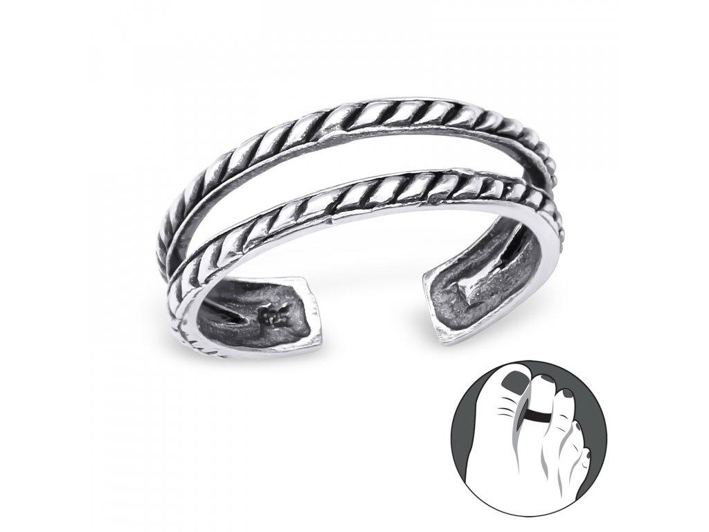 0433 Strieborný prsteň na nohu