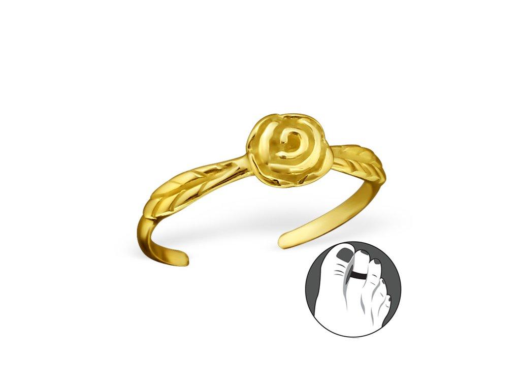 0535 Strieborný prsteň na nohu RUŽE GOLD