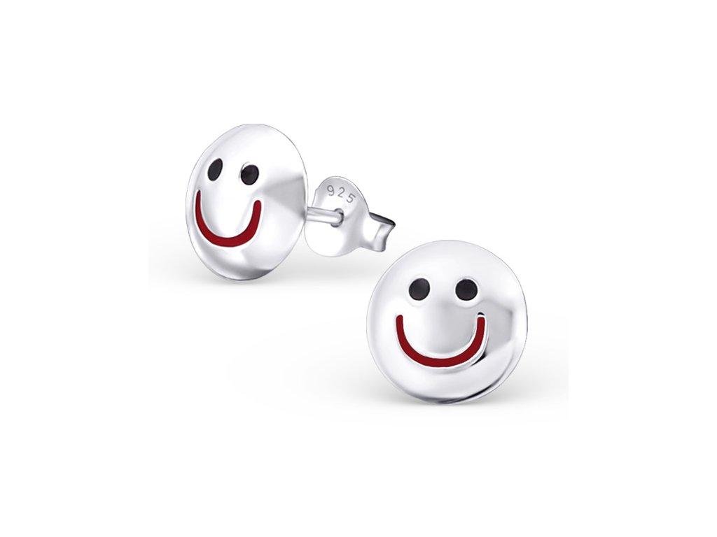 0866 Detské strieborné náušnice SMILE