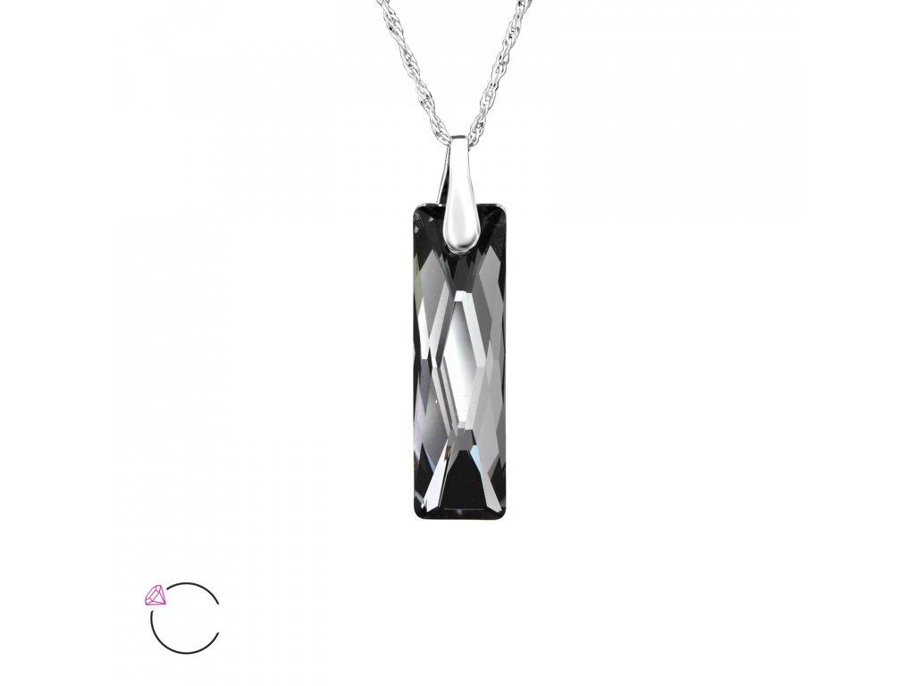 1231 Strieborný náhrdelník so Swarovski kryštálom NIGHT