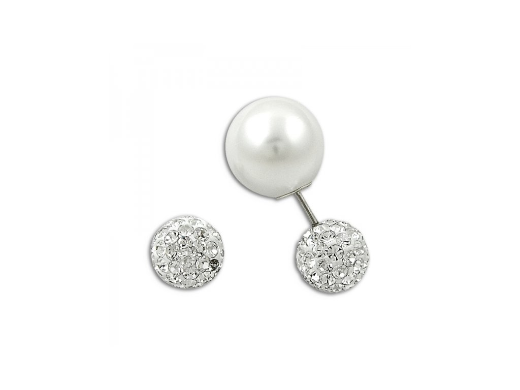 1378 Strieborné dvojité náušnice s perlami a zirkónmi