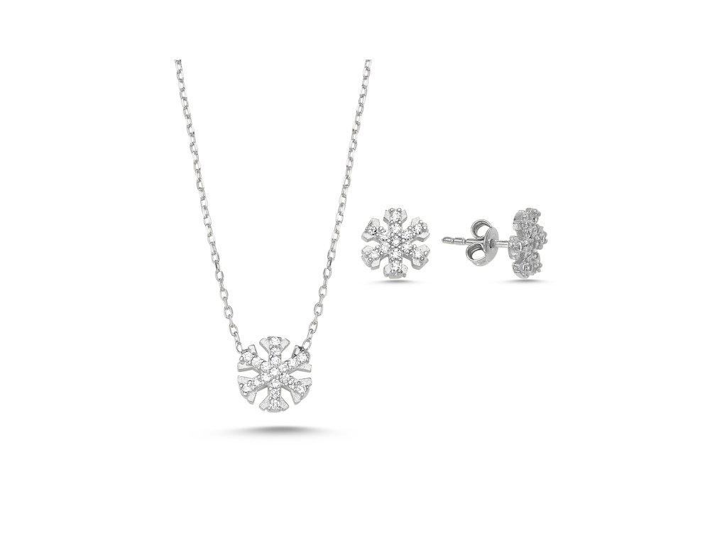 1393 Sada strieborných šperkov SNEHOVÁ VLOČKA
