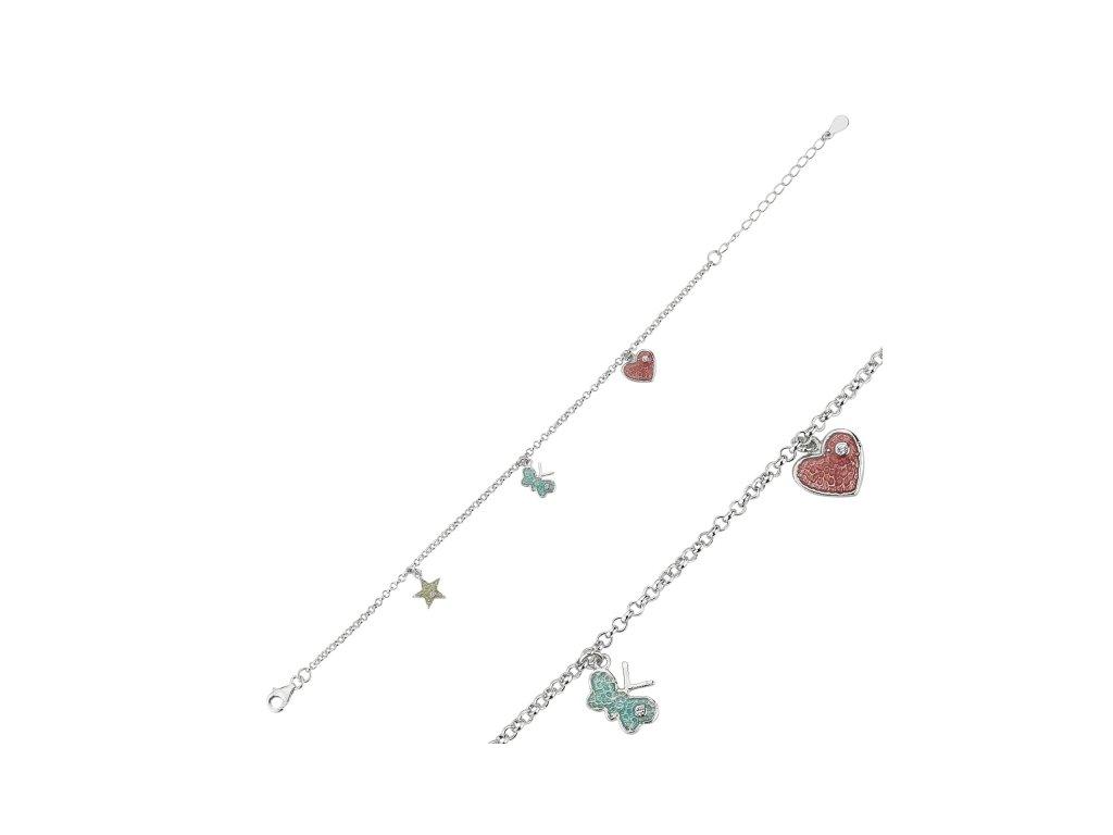 1528 Strieborný náramok s príveskami