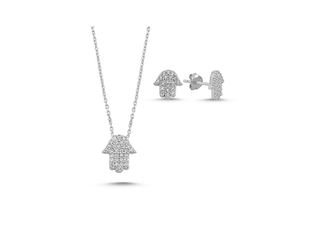 1595 Sada strieborných šperkov HAMSA
