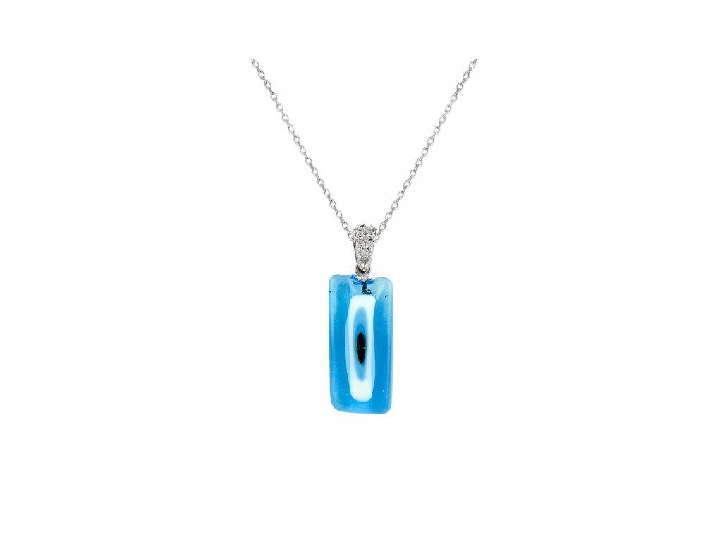1720 Strieborný náhrdelník so skleneným príveskom
