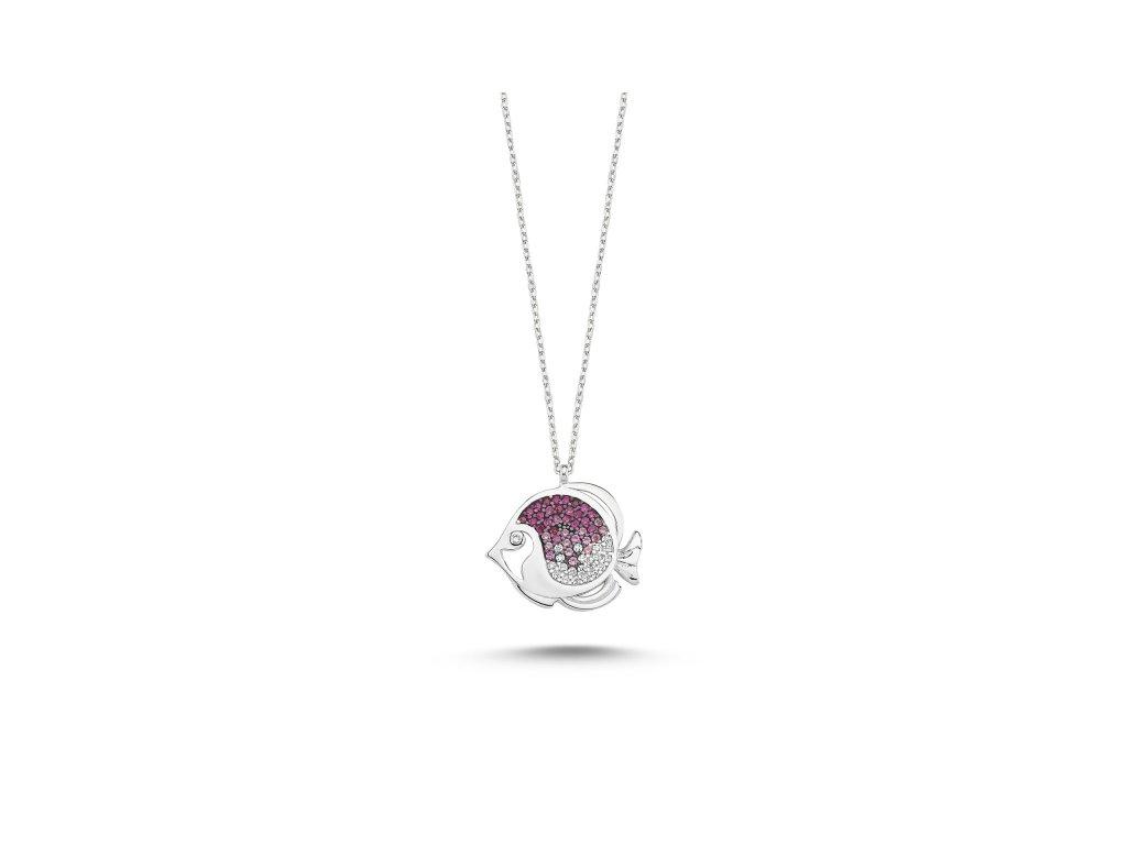 1723 Strieborný náhrdelník RYBKA PINK