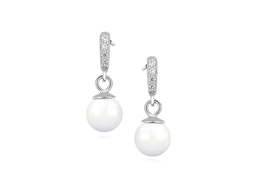 1768 Strieborné perlové náušnice so zirkónmi