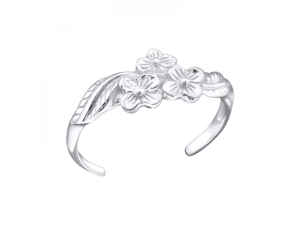 1798 Strieborný kvetinový prsteň na nohu