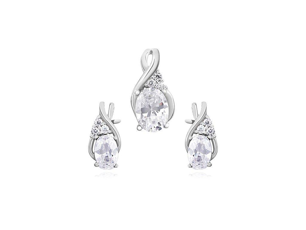 1896 Elegantná sada strieborných šperkov so zirkónmi