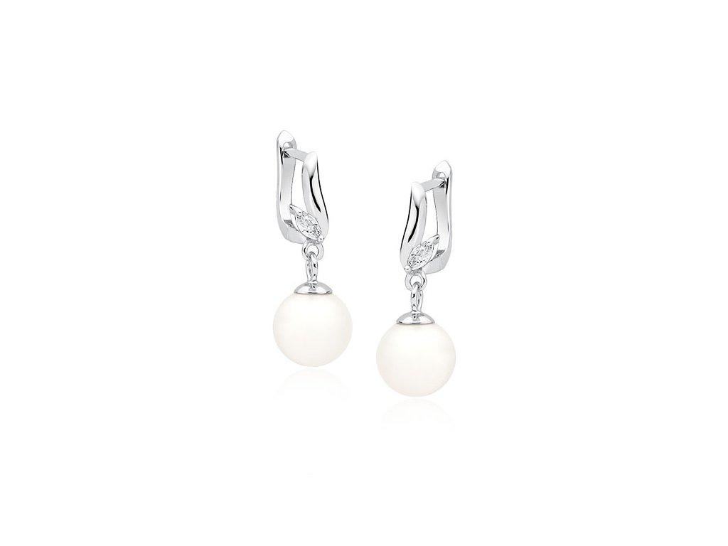 1956 Strieborné perlové náušnice so zirkónmi