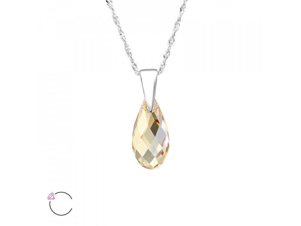 1963 Strieborný náhrdelník SLZA Swarovski ZLATÝ TIEŇ