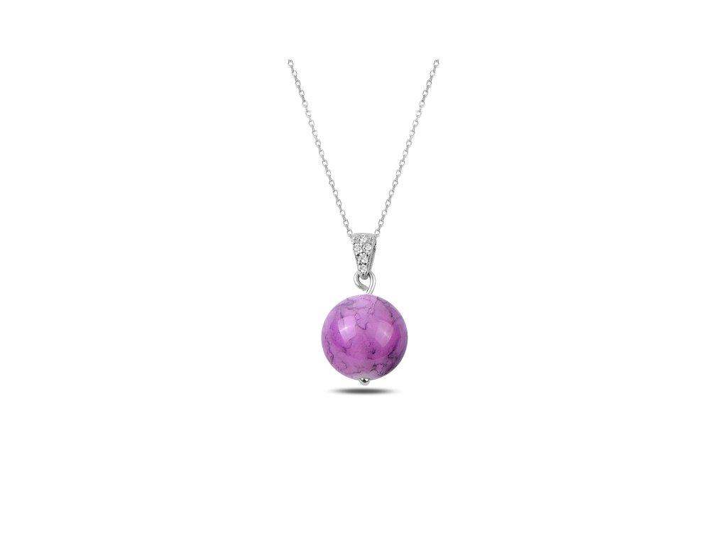 2144 Strieborná retiazka s fialovou guličkou