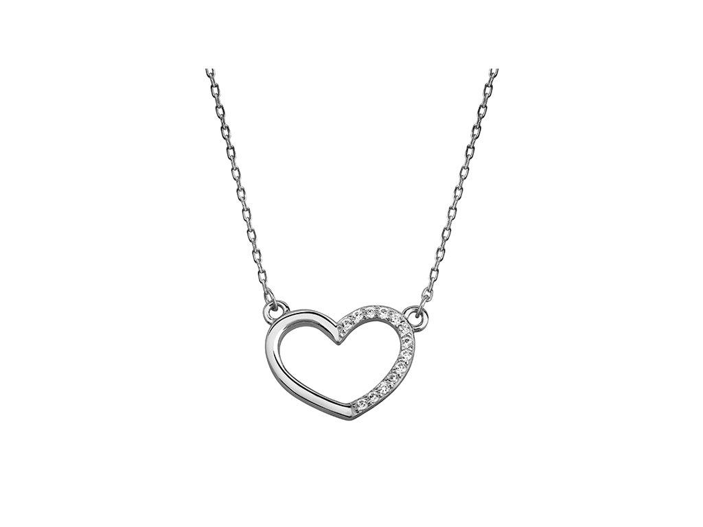 2183 Strieborný náhrdelník SRDCE so zirkónmi