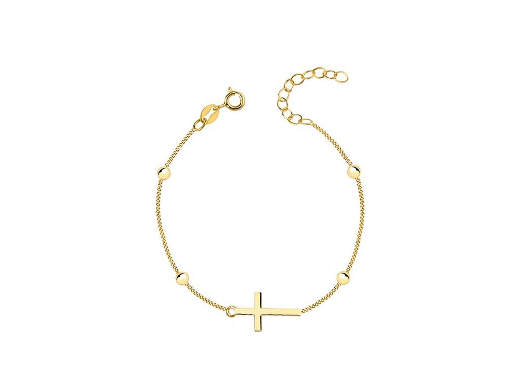 2193 Strieborný náramok GOLD s krížikom a guličkami