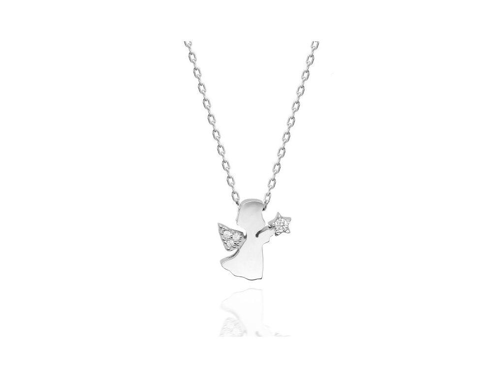 Strieborný náhrdelník ANJEL sa Swarovski kryštálmi