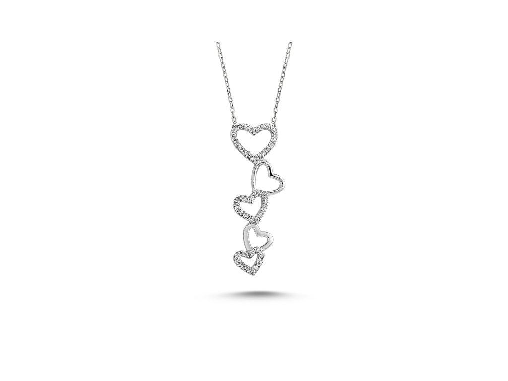 2329 Strieborný srdiečkový náhrdelník