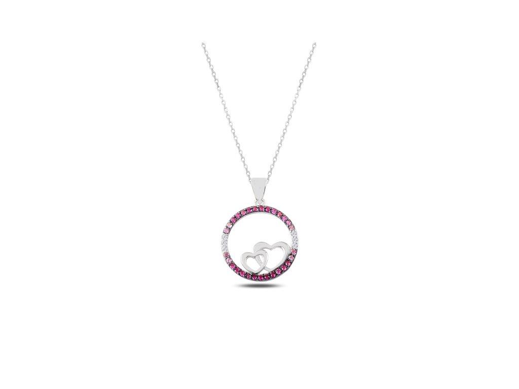 2344 Strieborný náhrdelník DVE SRDIEČKA