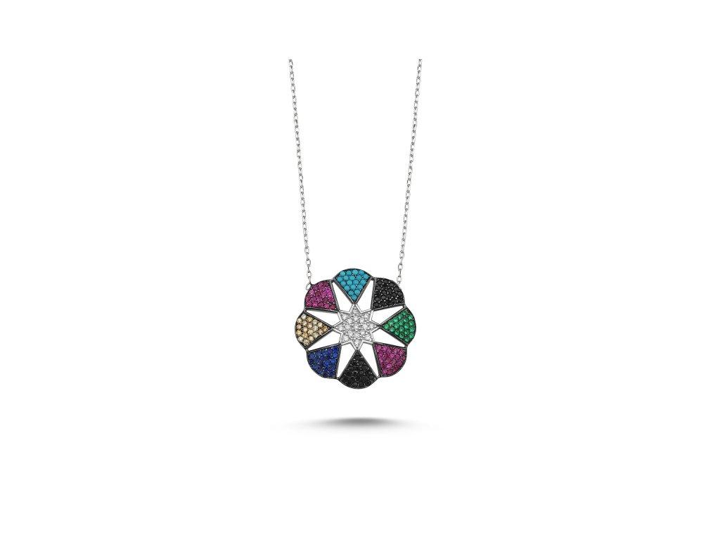 2347 Strieborný náhrdelník s farebnými zirkónmi