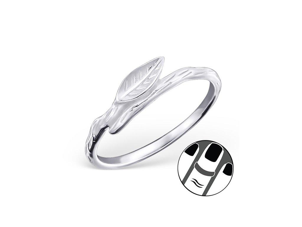 2501 Strieborný midi prsteň LÍSTOK