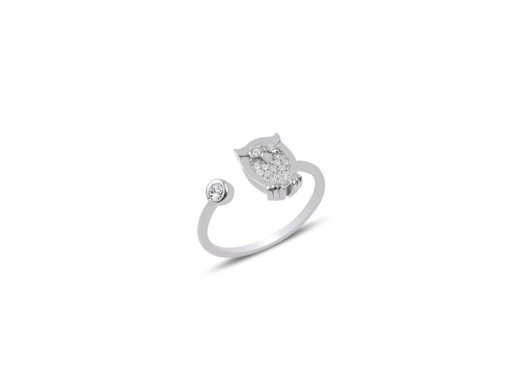 2575 Strieborný prsteň SOVA