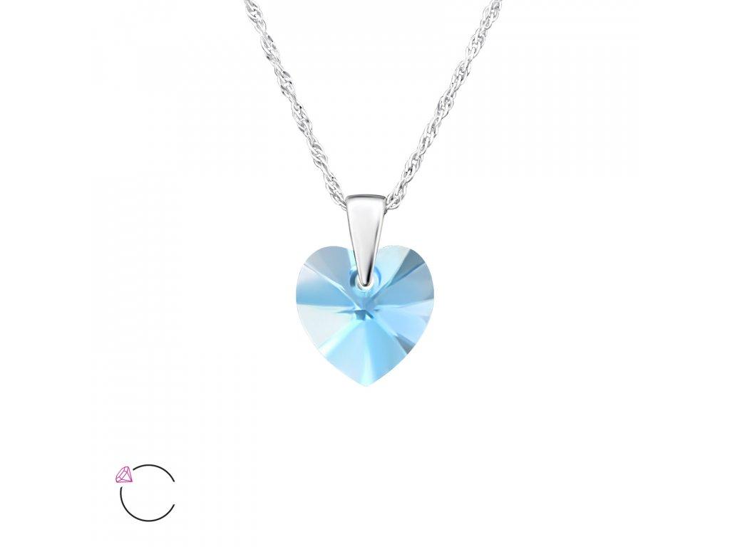2737 Strieborný náhrdelník SRDCE Swarovski Akvamarín