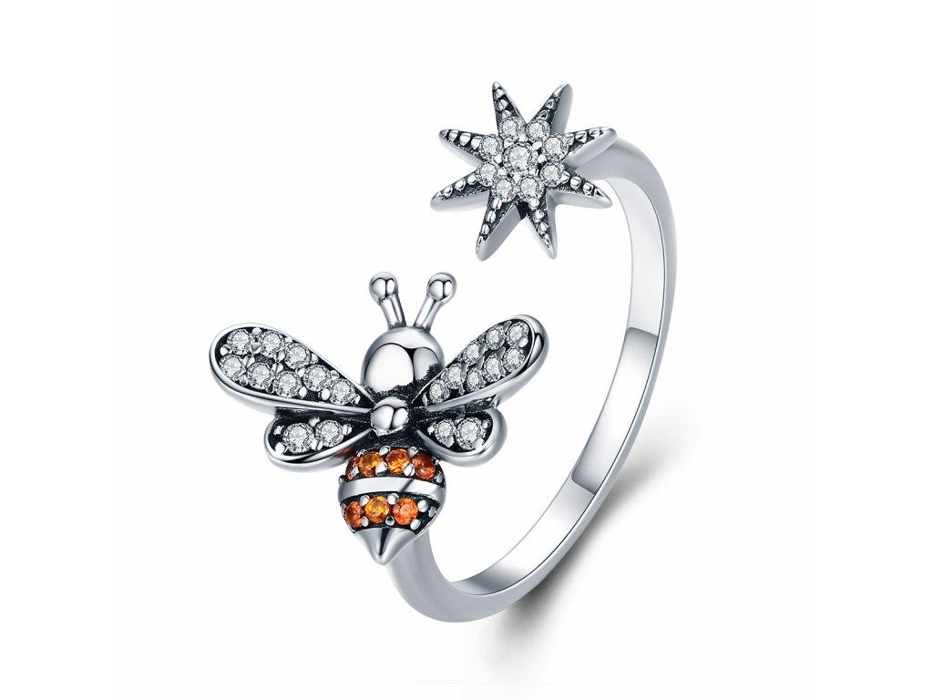 2946 Strieborný prsteň VČIELKA