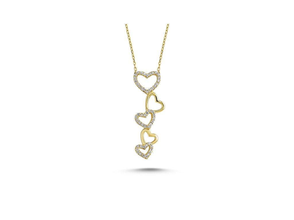2855 Strieborný srdiečkový náhrdelník GOLD