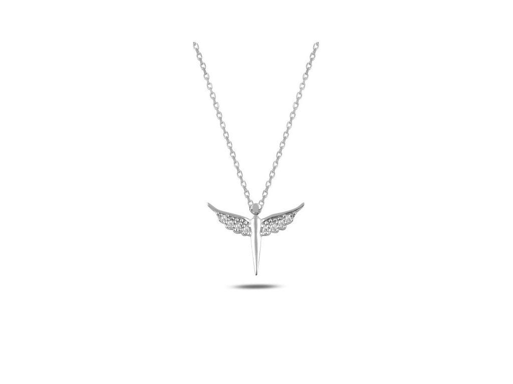 Strieborný náhrdelník ANJEL so Swarovski zirkónmi