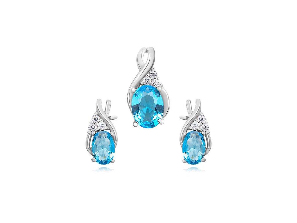 3028 Sada strieborných šperkov AKVAMARÍN