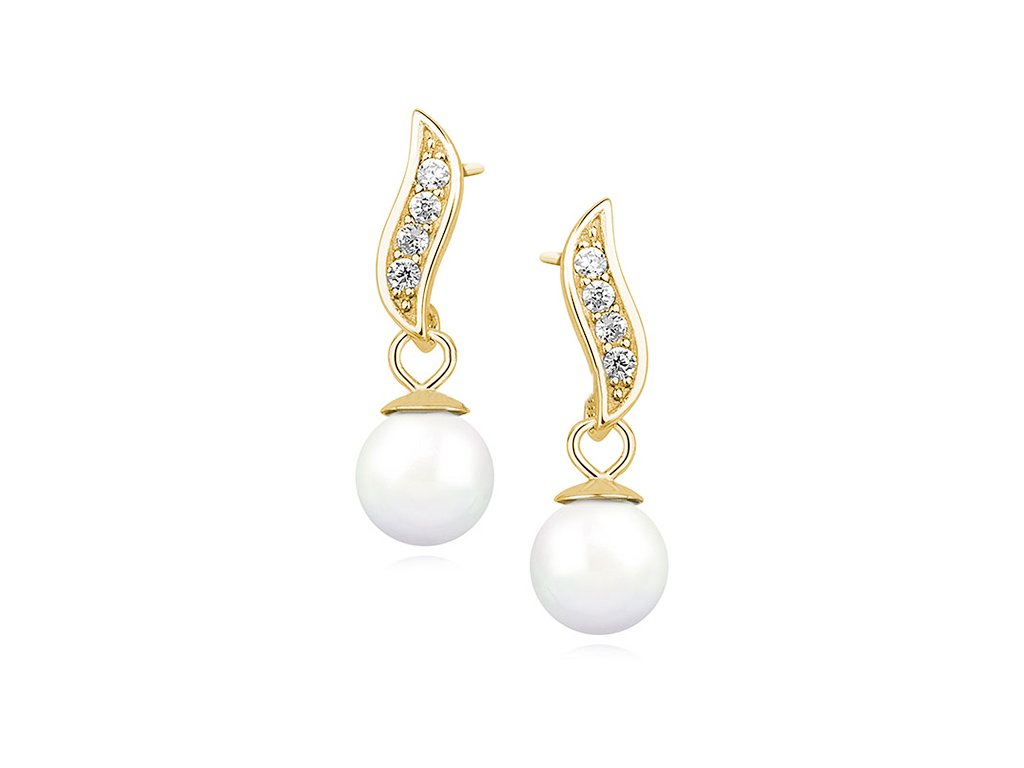 3046 Strieborné perlové náušnice GOLD so zirkónmi