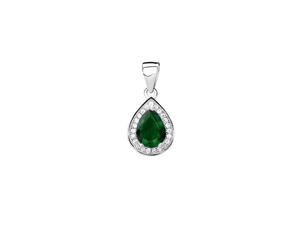 3052 Strieborný prívesok so smaragdovým zirkónom