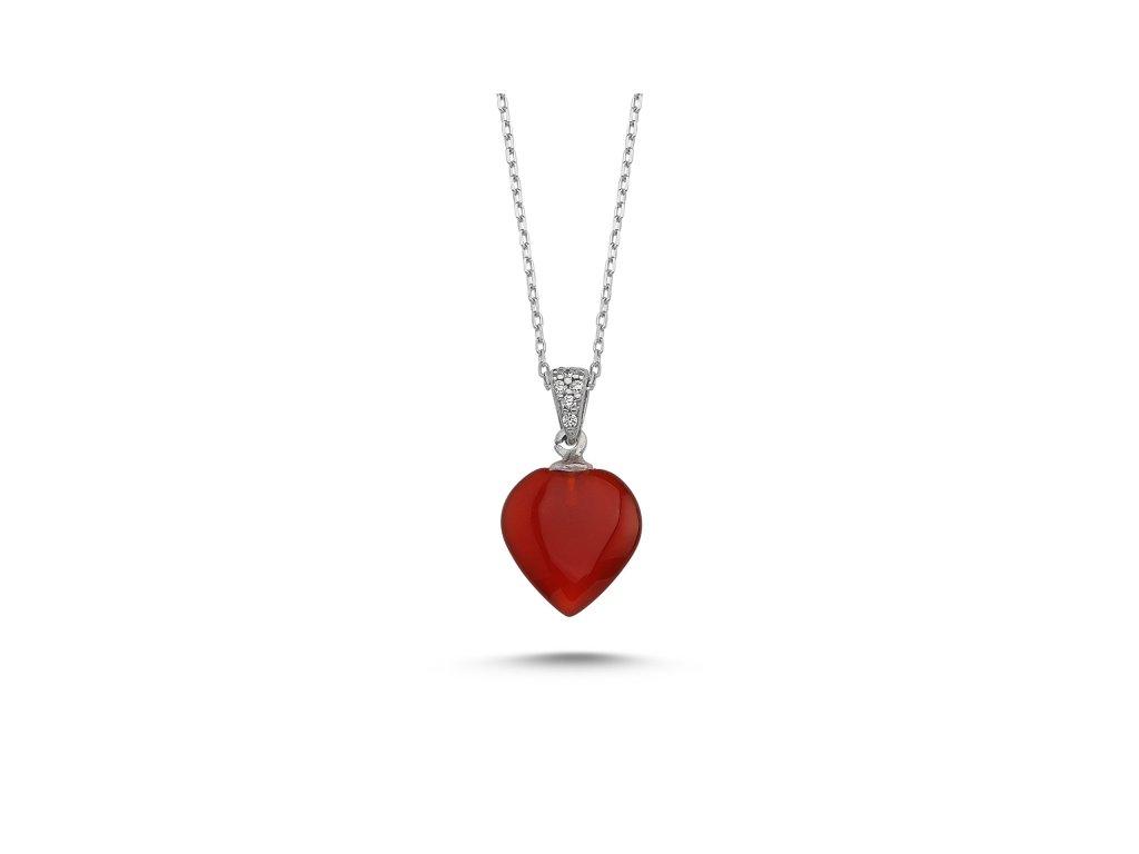 3151 Strieborný náhrdelník Agáta SRDCE RED