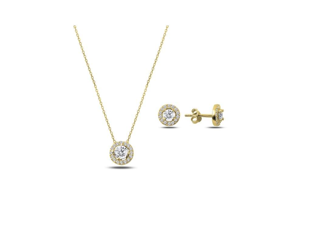3173 Sada strieborných šperkov ZIRKON GOLD