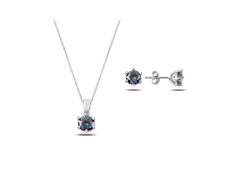 3174 Sada strieborných šperkov MYSTICKÝ TOPAZ