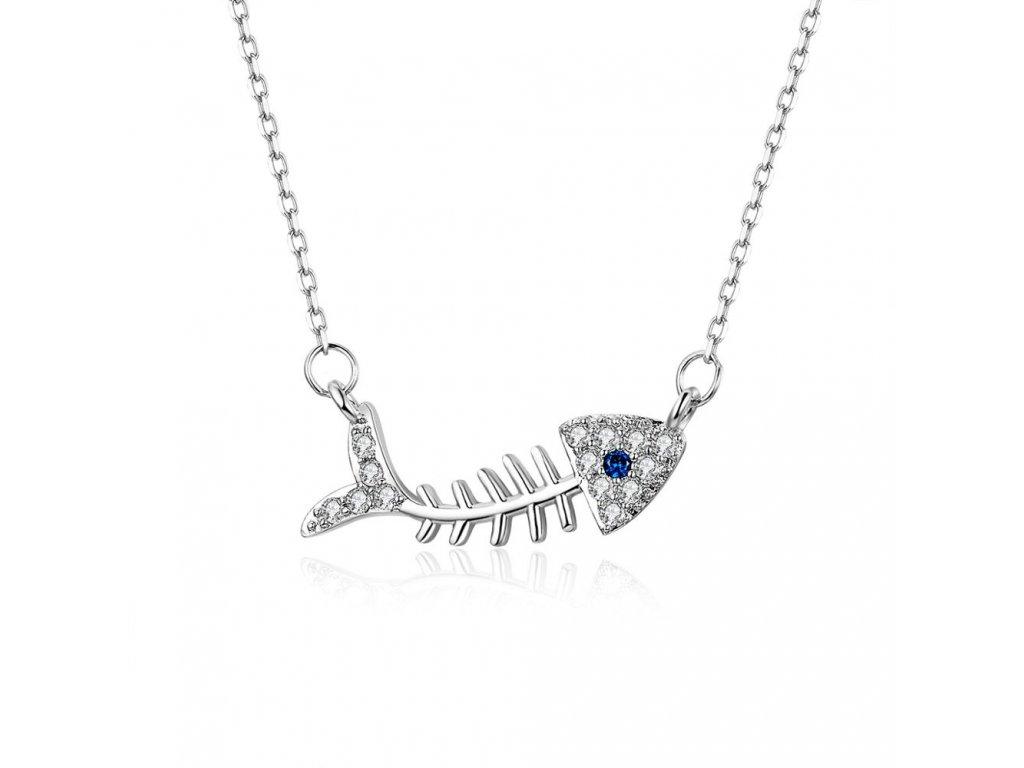 3369 Strieborný náhrdelník RYBIA KOSŤ