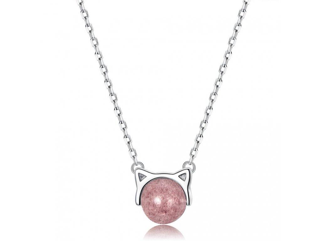 3375 Strieborný náhrdelník RUŽOVÁ MAČKA