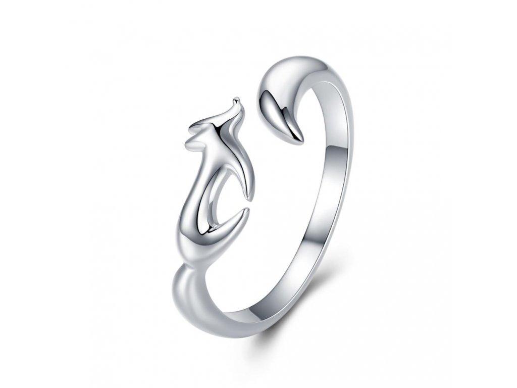 3389 Nastaviteľný strieborný prsteň LIŠKA
