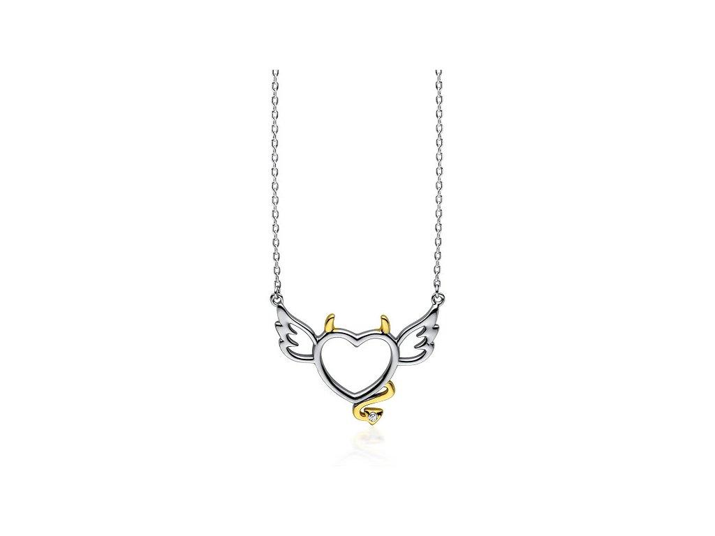 3400 Strieborný náhrdelník ANJEL a DIABOL